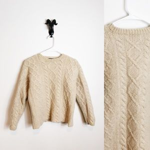 J. Crew 100% Wool Cable Knit Fisherman's Sweater